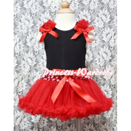 Black Baby Pettitop & Red Ruffles & Red Bow with Minnie Waist Baby Pettiskirt NG335