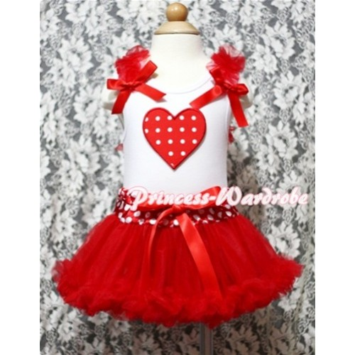 Red White Polka Dots Heart Print White Baby Pettitop & Red Ruffles & Red Bows with Minnie Waist Baby Pettiskirt NG337