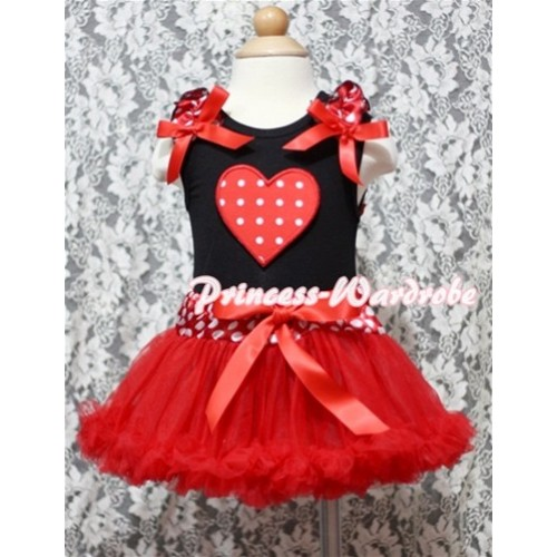 Red White Polka Dots Heart Print Black Baby Pettitop & Minnie Ruffles & Red Bows with Minnie Waist Baby Pettiskirt NG340