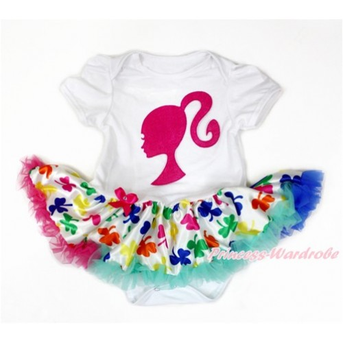 White Baby Jumpsuit Rainbow Clover Pettiskirt with Hot Pink Barbie Princess Print JS3215