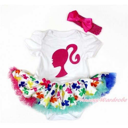 White Baby Bodysuit Jumpsuit Rainbow Clover Pettiskirt With Hot Pink Barbie Princess Print With Hot Pink Headband Hot Pink Silk Bow JS3227