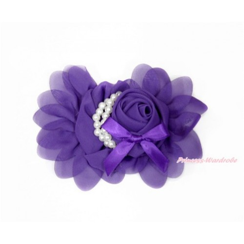 Dark Purple Petal Crystal Pearl Bow Rosettes Hair Clip H820