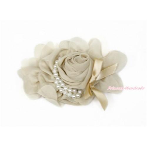 Khaki Petal Crystal Pearl Bow Rosettes Hair Clip H821