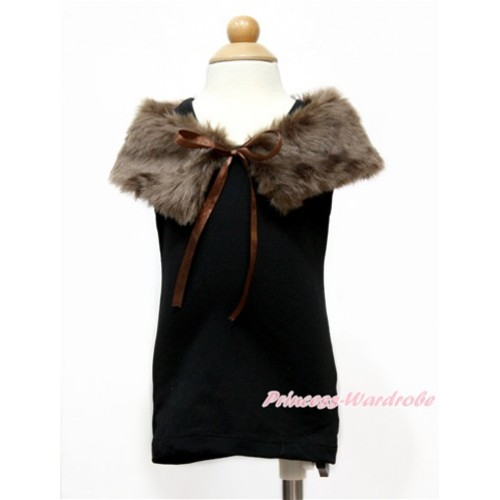 Brown Soft Fur Stole Shawl Shrug Wrap Cape Wedding Flower Girl Shawl Coat SH55