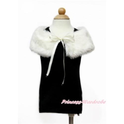 Cream White Soft Fur Stole Shawl Shrug Wrap Cape Wedding Flower Girl Shawl Coat SH57