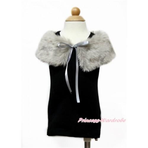 Khaki Soft Fur Stole Shawl Shrug Wrap Cape Wedding Flower Girl Shawl Coat SH58