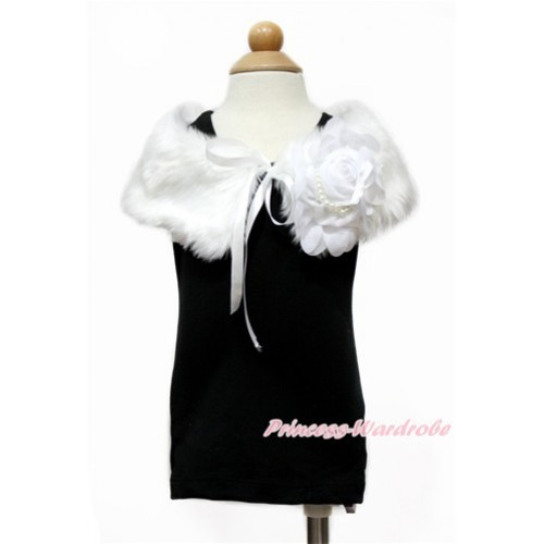 White Chiffon Rosettes with White Soft Fur Stole Shawl Shrug Wrap Cape Wedding Flower Girl Shawl Coat SH59