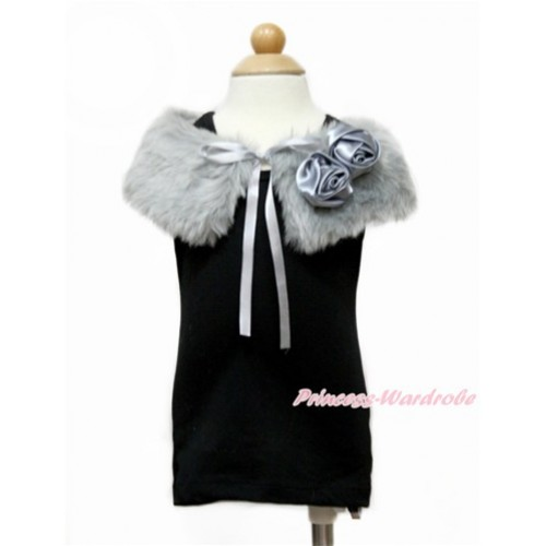 Grey Rosettes with Grey Soft Fur Stole Shawl Shrug Wrap Cape Wedding Flower Girl Shawl Coat SH61