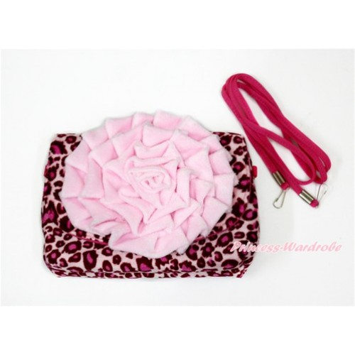 Big Light Pink Rose with Little Cute Hot Pink Leopard Handbag Petti Bag Purse CB147