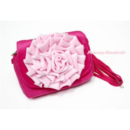 Big Light Pink Rose with Little Cute Hot Pink Handbag Petti Bag Purse CB150