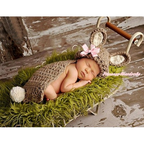 Easter Khaki Rabbit Sweater Photo Prop Crochet Newborn Baby Custome C226