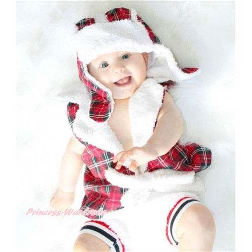 Red Black Checked Prince Sweater Photo Prop Crochet Newborn Baby Custome C227
