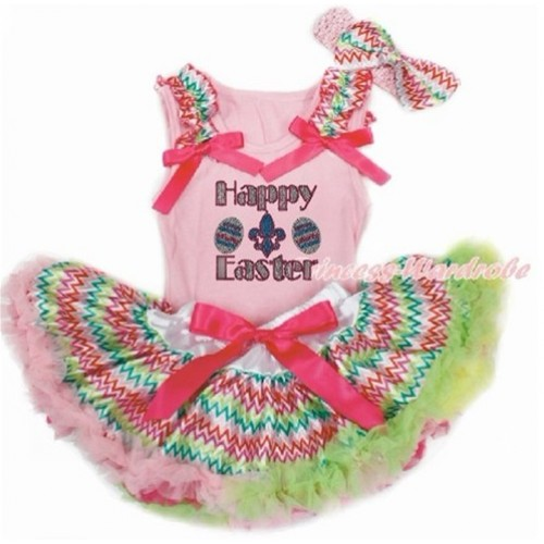 Easter Light Pink Baby Pettitop with Rainbow Wave Ruffles & Hot Pink Bows with Sparkle Crystal Bling Rhinestone Happy Easter Print & Rainbow Wave Newborn Pettiskirt With Light Pink Headband Rainbow Wave Satin Bow BG148