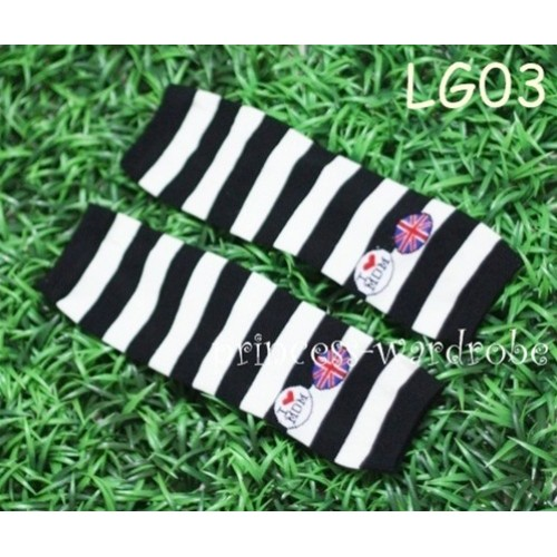 Newborn Baby Black & White Stripes Leg Warmers Leggings LG03