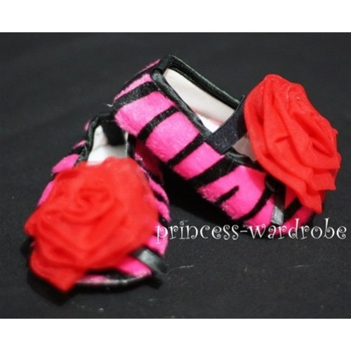 Baby Hot Pink Zebra Crib Shoes with Hot Red Rosettes S27