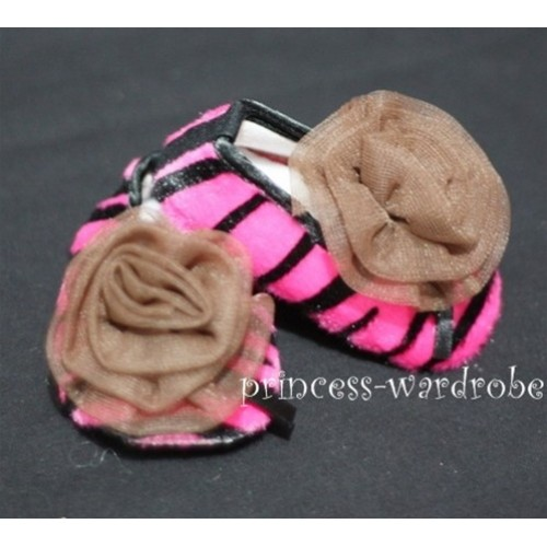Baby Hot Pink Zebra Crib Shoes with Coffee Brown Rosettes S30