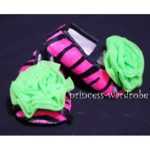 Baby Hot Pink Zebra Crib Shoes with Lime Green Rosettes S32