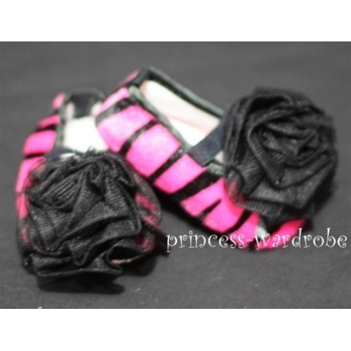 Baby Hot Pink Zebra Crib Shoes with Black Rosettes S33