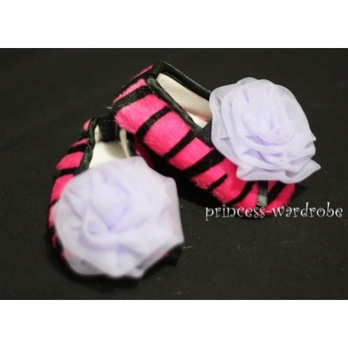 Baby Hot Pink Zebra Crib Shoes with Light Purple Rosettes S34