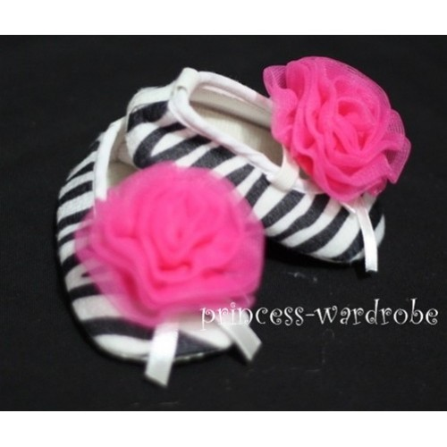Baby Zebra Crib Shoes with Hot Pink Rosettes S36