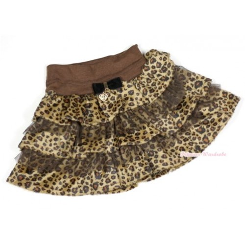 Brown Leopard Tiered Layer Skirt Dress B146