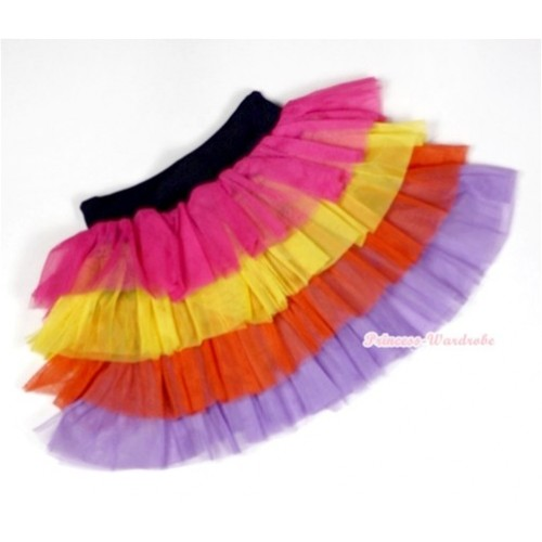 Hot Pink Yellow Red Lavender Tiered Layer Skirt Dress B150