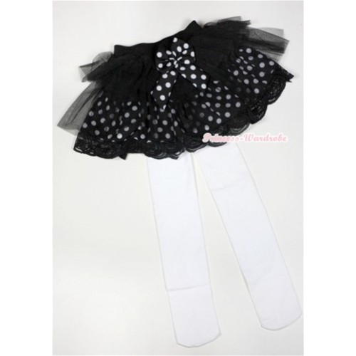 Black White Polka Dots Tiered Layer Skirt Dress With White Leggings 2PC set B155