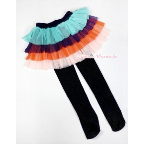 Aqua Blue Black Orange Tiered Layer Skirt Dress With Black Leggings B157