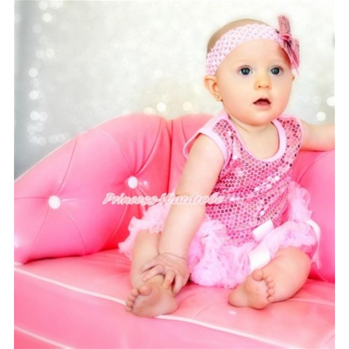 Valentine's Day Light Pink Sparkle Sequins Baby Bodysuit Light Pink Pettiskirt & Bow & Light Pink Headband Sparkle Sequins Bow JS2785