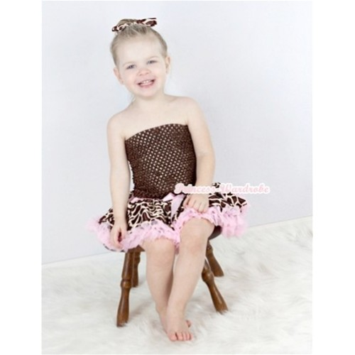 Brown Crochet Tube Top with Light Pink Giraffe Baby Pettiskirt With Giraffe Satin Bow  CT530