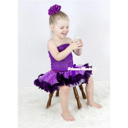 Dark Purple Crochet Tube Top with Dark Purple Feather Baby Pettiskirt With Dark Purple Peony CT531