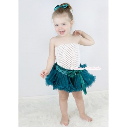 White Crochet Tube Top with Teal Green Baby Pettiskirt With Teal Green Satin Bow CT532