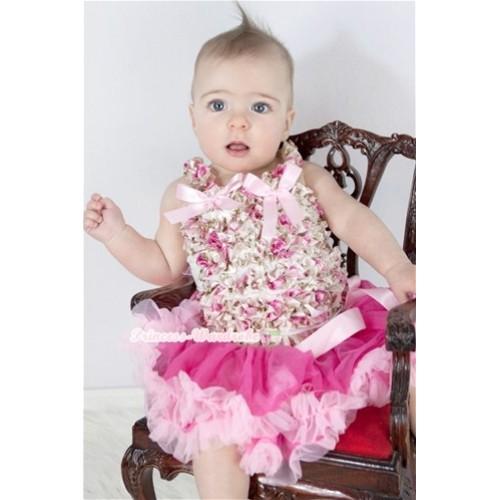 Light Pink Rose Fusion Baby Ruffles Tank Top with Light Pink Bow With Rose Fusion Waist Hot Light Pink Baby Pettiskirt NR59