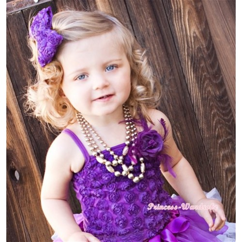 Dark Purple Romantic Rose Strap Pettitop With Dark Purple Feather Rosettes TR003