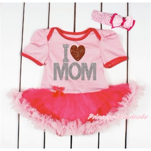Mother's Day Light Pink Baby Bodysuit Jumpsuit Hot Light Pink Pettiskirt With Sparkle Crystal Bling Rhinestone I Love Mom Print With Light Pink Headband Light Hot Pink Ribbon Bow JS3247