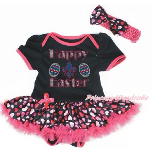 Easter Black Baby Bodysuit Jumpsuit Hot Light Pink Heart Pettiskirt With Sparkle Crystal Bling Rhinestone Happy Easter Print With Hot Pink Headband Hot Light Pink Heart Satin Bow JS3254
