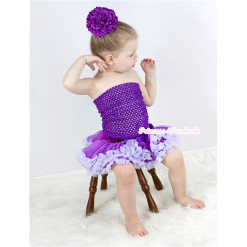 Dark Purple Crochet Tube Top with Dark Purple Lavender Pettiskirt With Dark Purple Peony CT535