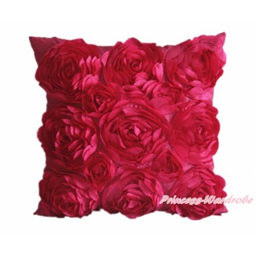 Raspberry Wine Red 3D Rosettes Solid Color Home Sofa Cushion Cover HG013