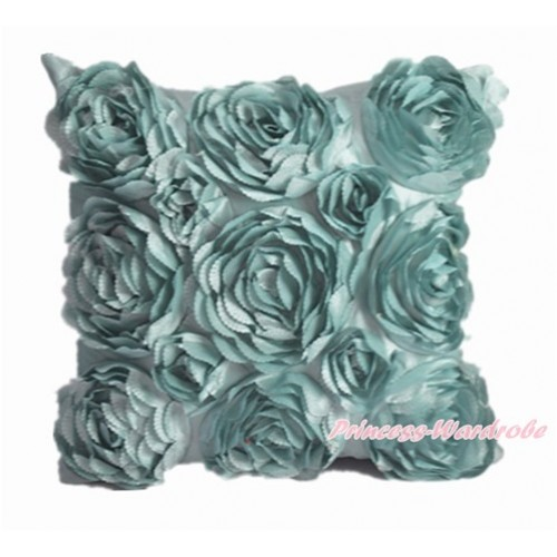 Aqua Blue 3D Rosettes Solid Color Home Sofa Cushion Cover HG014