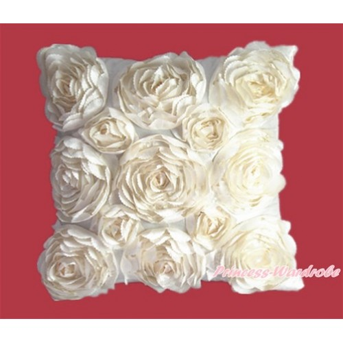 Cream White 3D Rosettes Solid Color Home Sofa Cushion Cover HG015