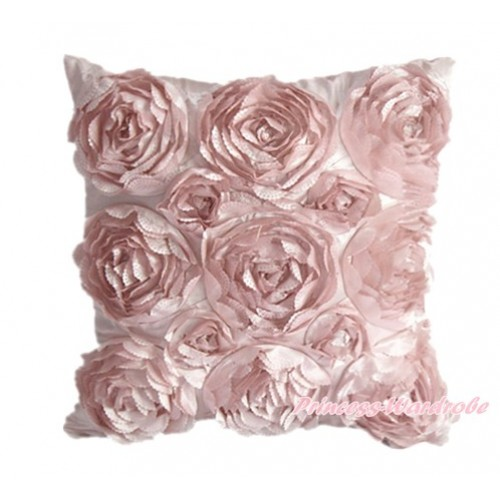 Light Pink 3D Rosettes Solid Color Home Sofa Cushion Cover HG016