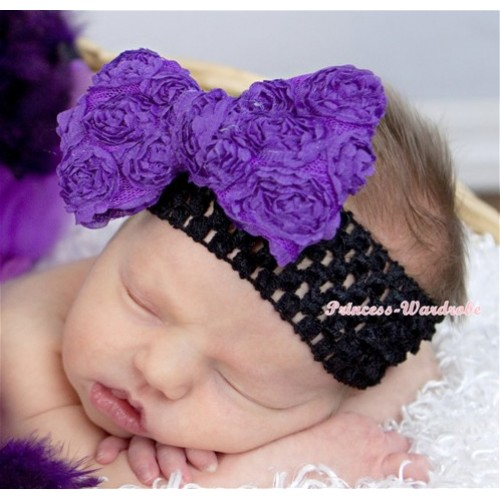 Black Headband with Dark Purple Romantic Rose Bow Hair Clip H615