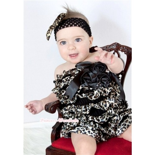 Black Leopard Chiffon Romper with Black Bows with Black Headband Leopard Satin Bow Set RH111