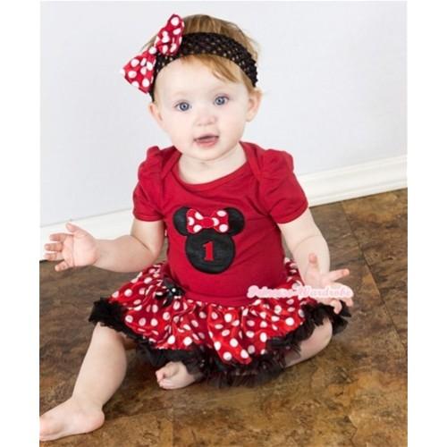 Red Baby Jumpsuit Minnie Pettiskirt With 1st Birthday Number Minnie Print With Black Headband Minnie Dots Satin Bow JS450