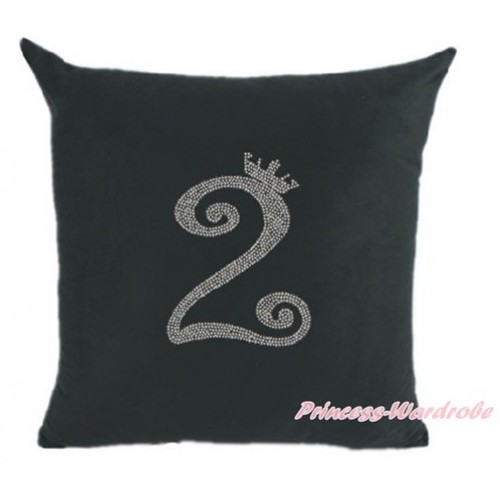 Black Home Sofa Cushion Cover with 2nd Sparkle Crystal Bling Rhinestone Birthday Number Print HG019