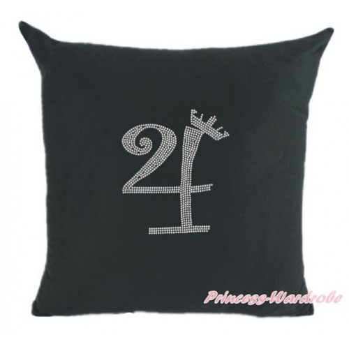 Black Home Sofa Cushion Cover with 4th Sparkle Crystal Bling Rhinestone Birthday Number Print HG021