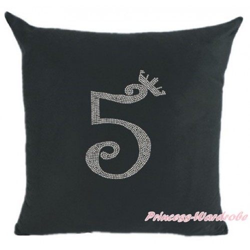 Black Home Sofa Cushion Cover with 5th Sparkle Crystal Bling Rhinestone Birthday Number Print HG022