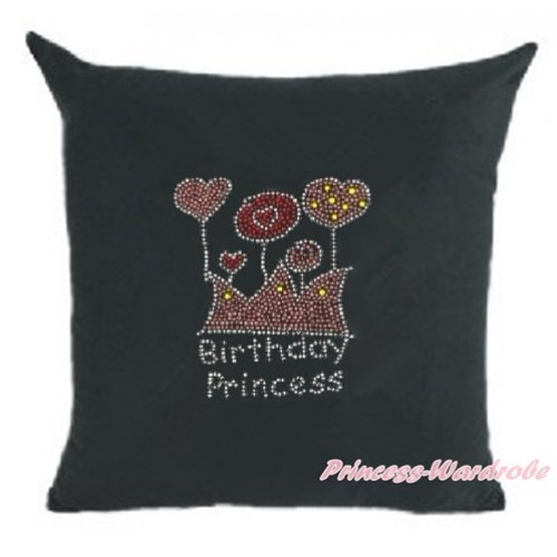 Black Home Sofa Cushion Cover with Sparkle Crystal Bling Rhinestone Birthday Princess Print HG025