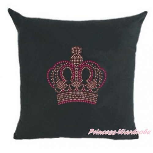 Black Home Sofa Cushion Cover with Sparkle Crystal Bling Rhinestone Crown Print HG026