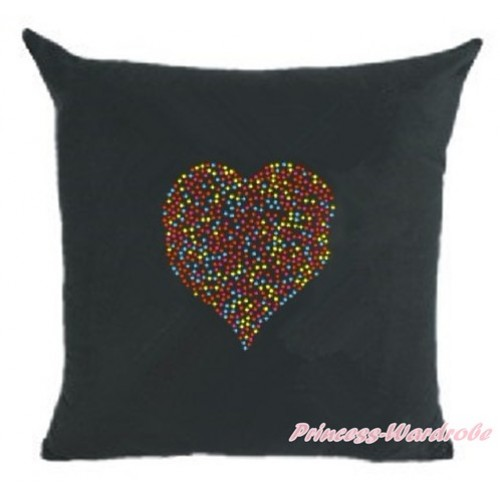 Black Home Sofa Cushion Cover with Sparkle Crystal Bling Rhinestone Rainbow Heart Print HG027